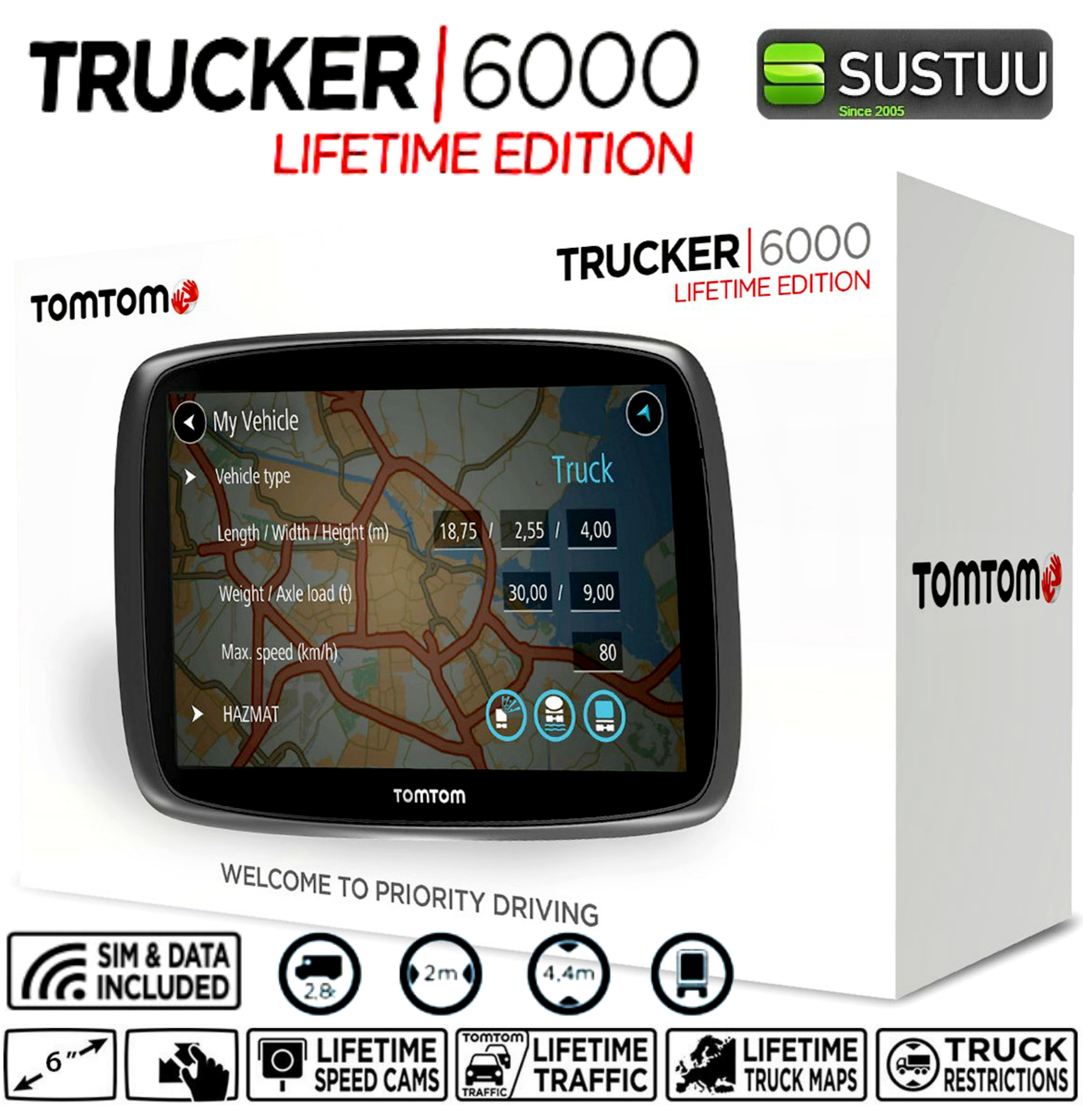 Best Free Sat Nav For Iphone Tomtom Trucker 6000 Gps Satnav Free Lifetime Uk Eu Maps
