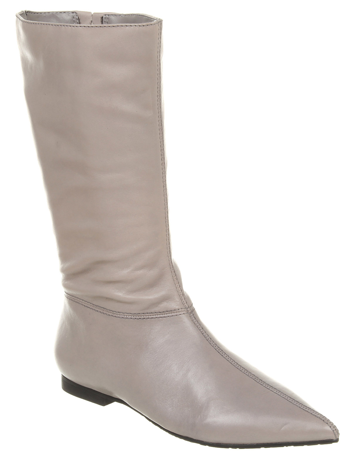 Womens Office Carla Flat Pointy Boot Grey Leather Boots Ex