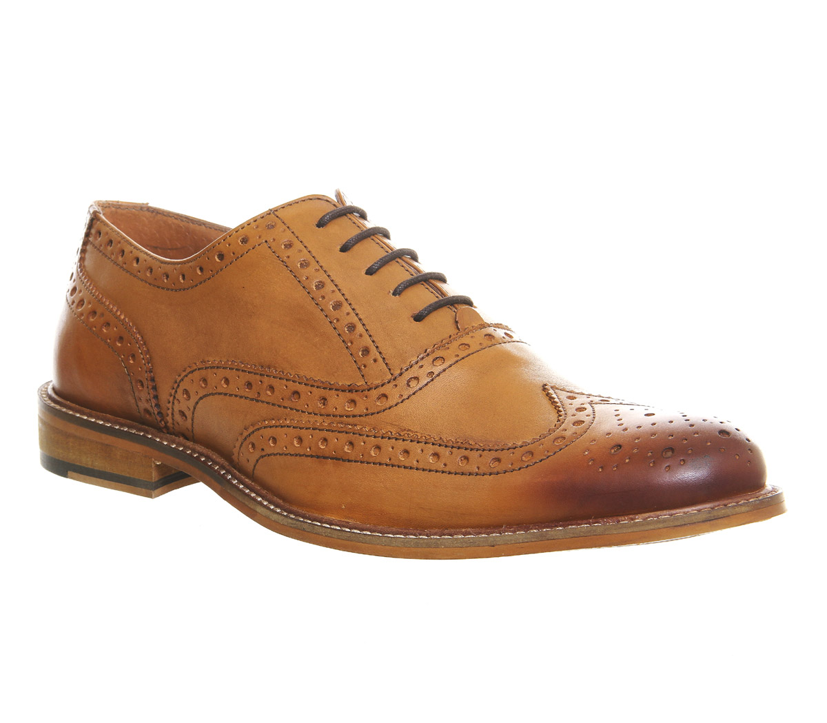 Mens Office Bhatti Brogues Tan Leather Formal Shoes Ebay