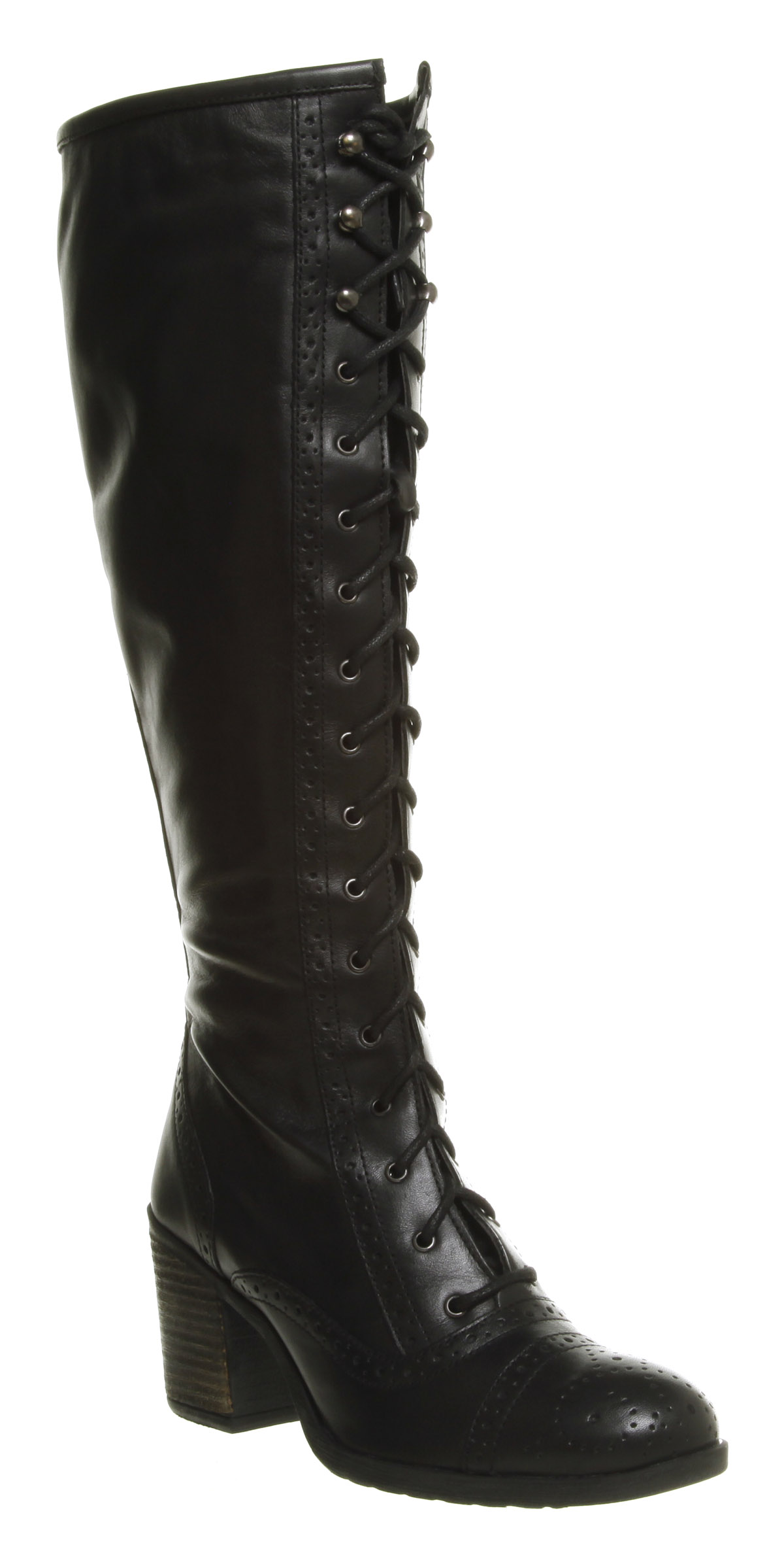Womens Office Judge Brogue Knee Boot Black Leather Boots
