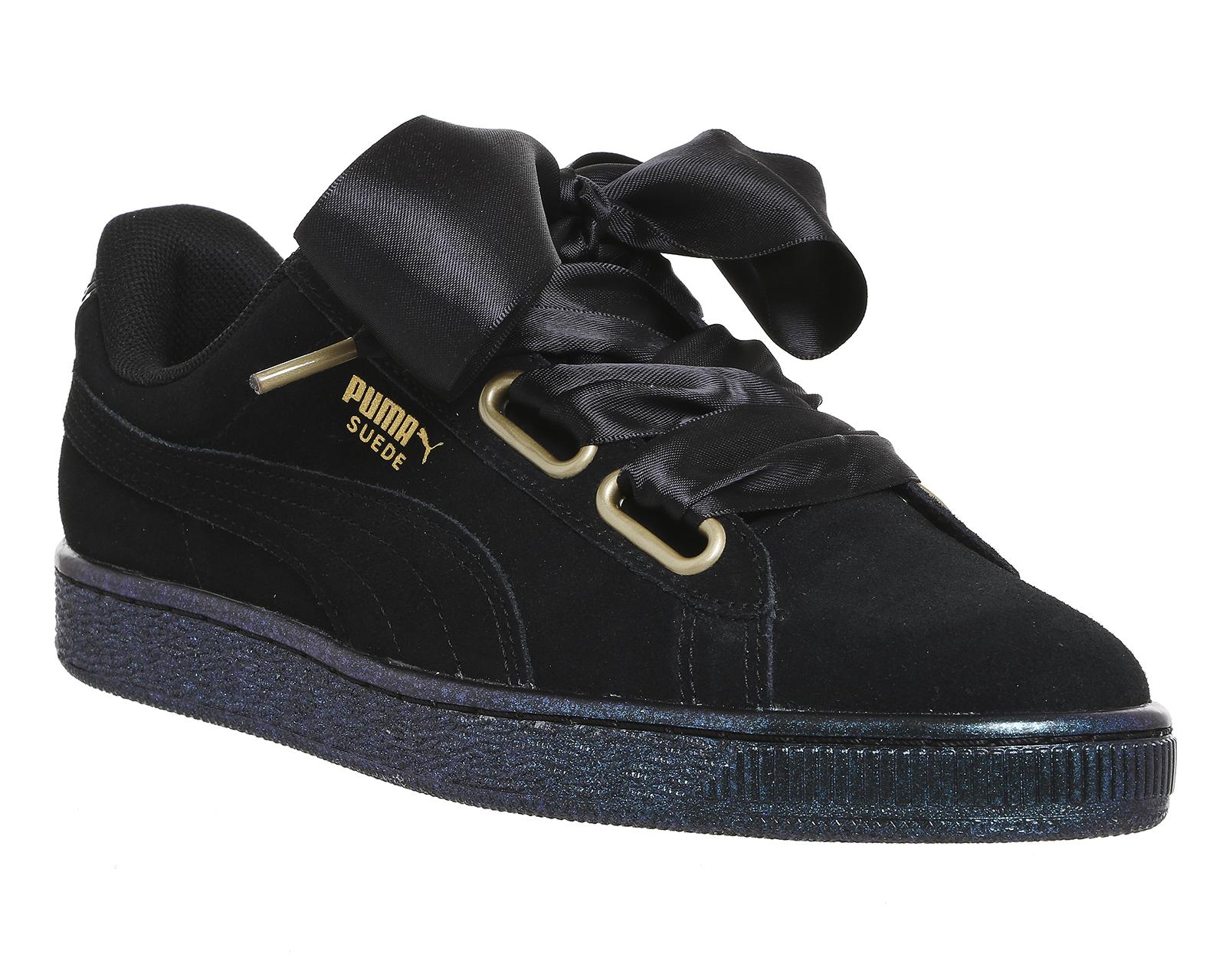 Womens Puma Suede Heart Puma Black Satin Trainers Shoes Ebay