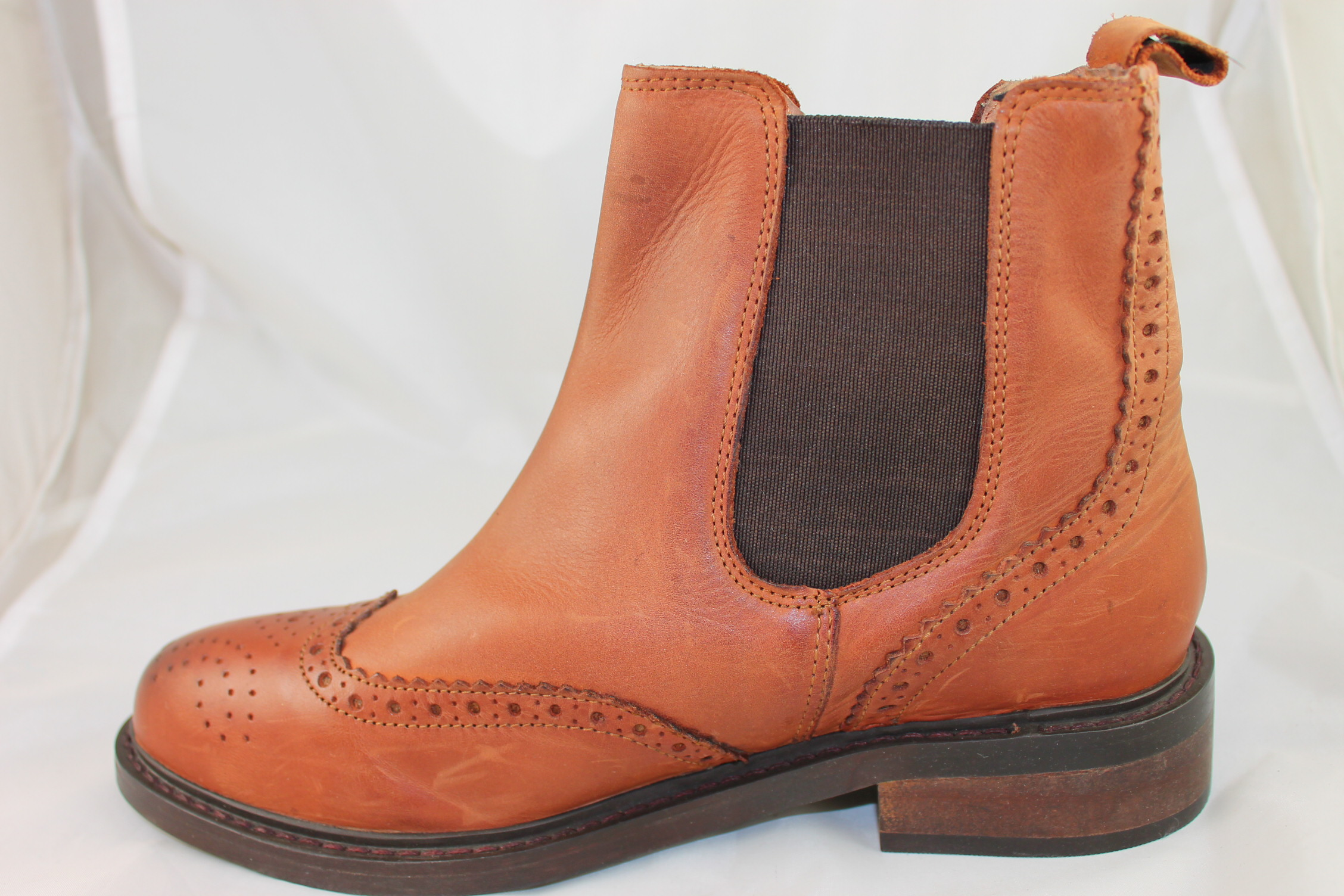 Womens Office Baron Brogue Chelsea Brown Leather Boots Ex
