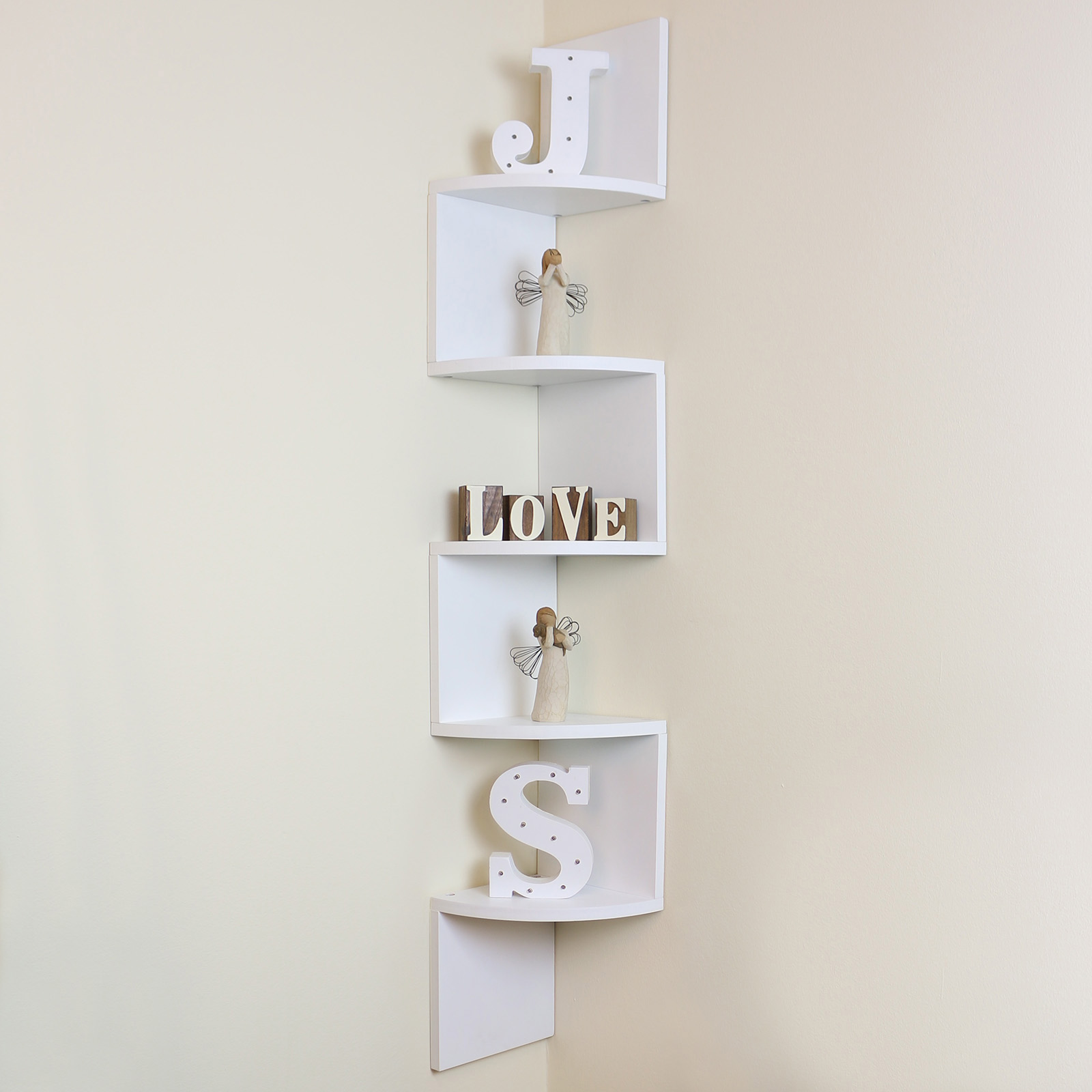 Funky Wall Shelves 5 Tier White Wall Mounted Zigzag Corner Floating Shelf