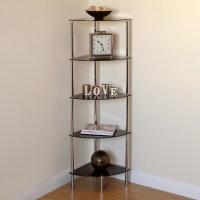 Hartleys 5 Tier Black Glass Side Corner Shelf/Display Unit ...