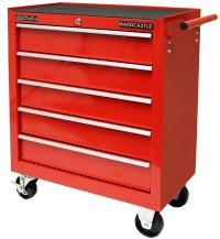 RED METAL 5 DRAWER LOCKABLE TOOL CHEST STORAGE BOX ROLLER ...