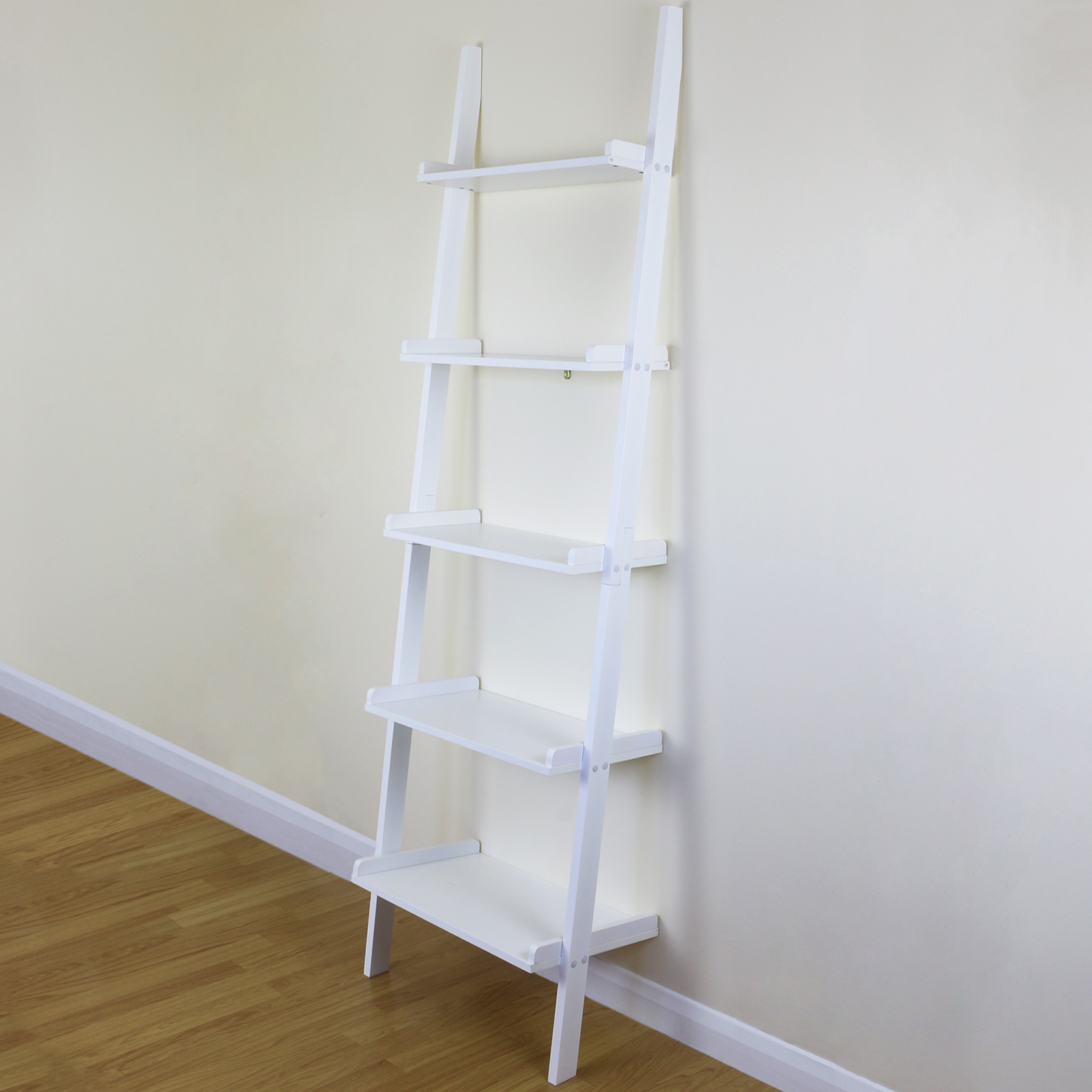 White Wall Book Rack 5 Tier White Ladder Wall Shelf Home Storage Display Unit