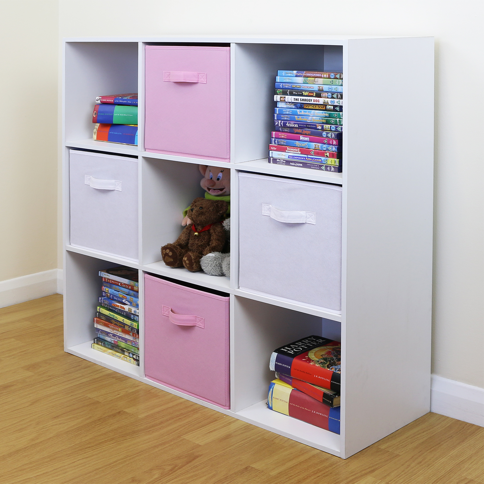 9 Cube Kids Pink & White Toy/Games Storage Unit Girls/Boys