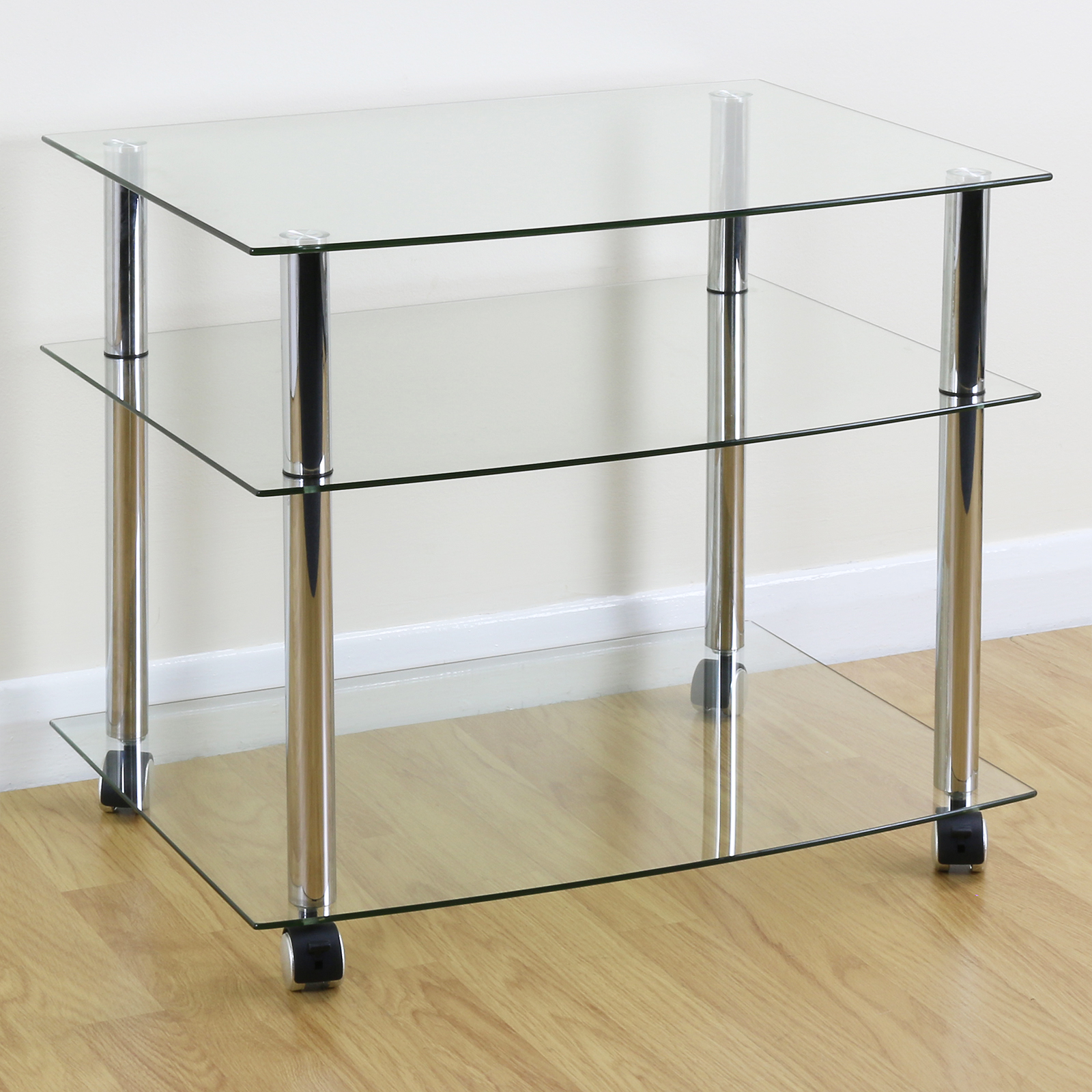 Tv Stand With Wheels Mobile Chrome And Clear Glass 3 Shelf Tv Stand Trolley Unit