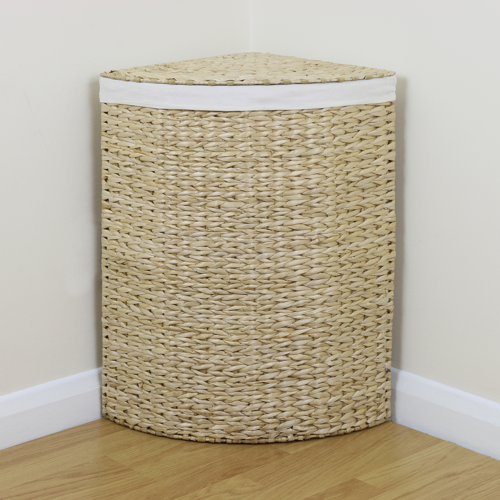 Corner Laundry Shelf Corner Woven Laundry Basket Cloth Lining Lid Hamper Bin
