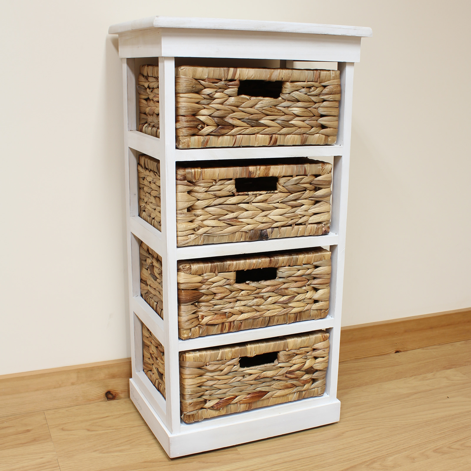 Bathroom Drawers Hartleys Large White 4 Basket Chest Home Storage Unit