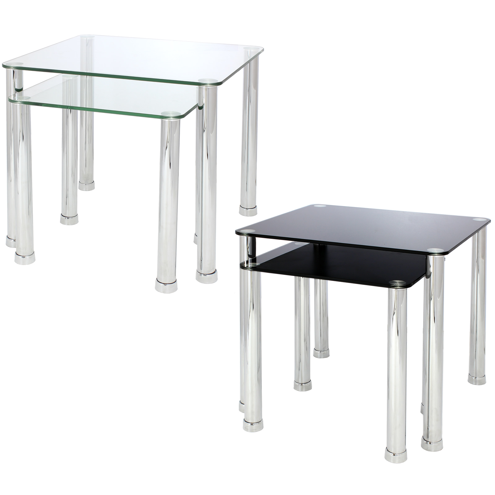 Glass Tables Living Room Nest Of 2 Glass Chrome Tables Home Lounge Living Room Set
