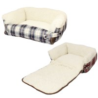ME & MY PET CHECK COSY SHEEPSKIN FOLD OUT CAT/DOG BED SOFA ...