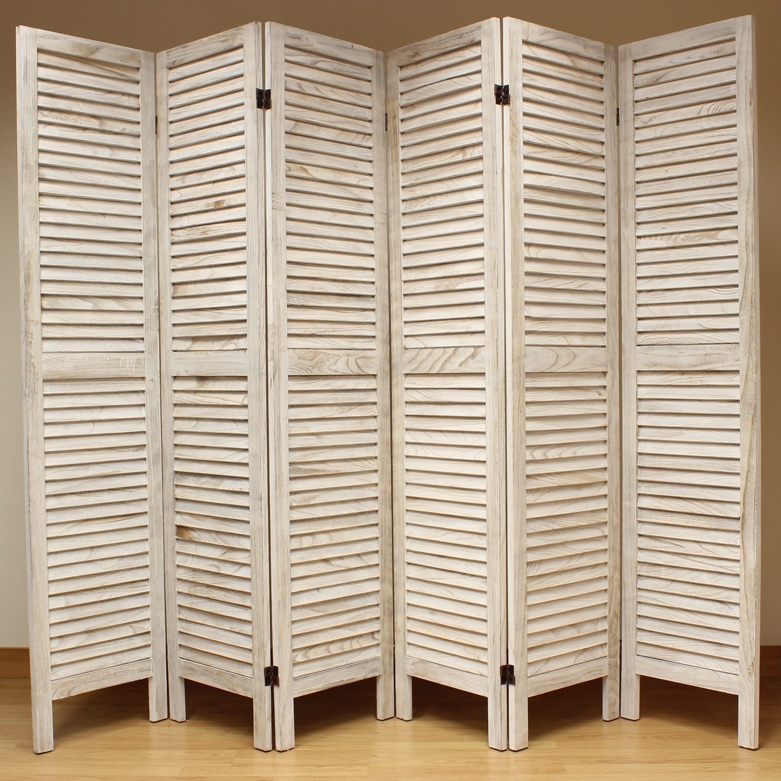 Room Divider Screens Cream 6 Panel Wooden Slat Room Divider Home Privacy Screen
