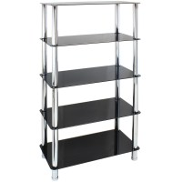 5 TIER GLASS SHELF UNIT HOME/OFFICE LOUNGE/HALL STORAGE ...
