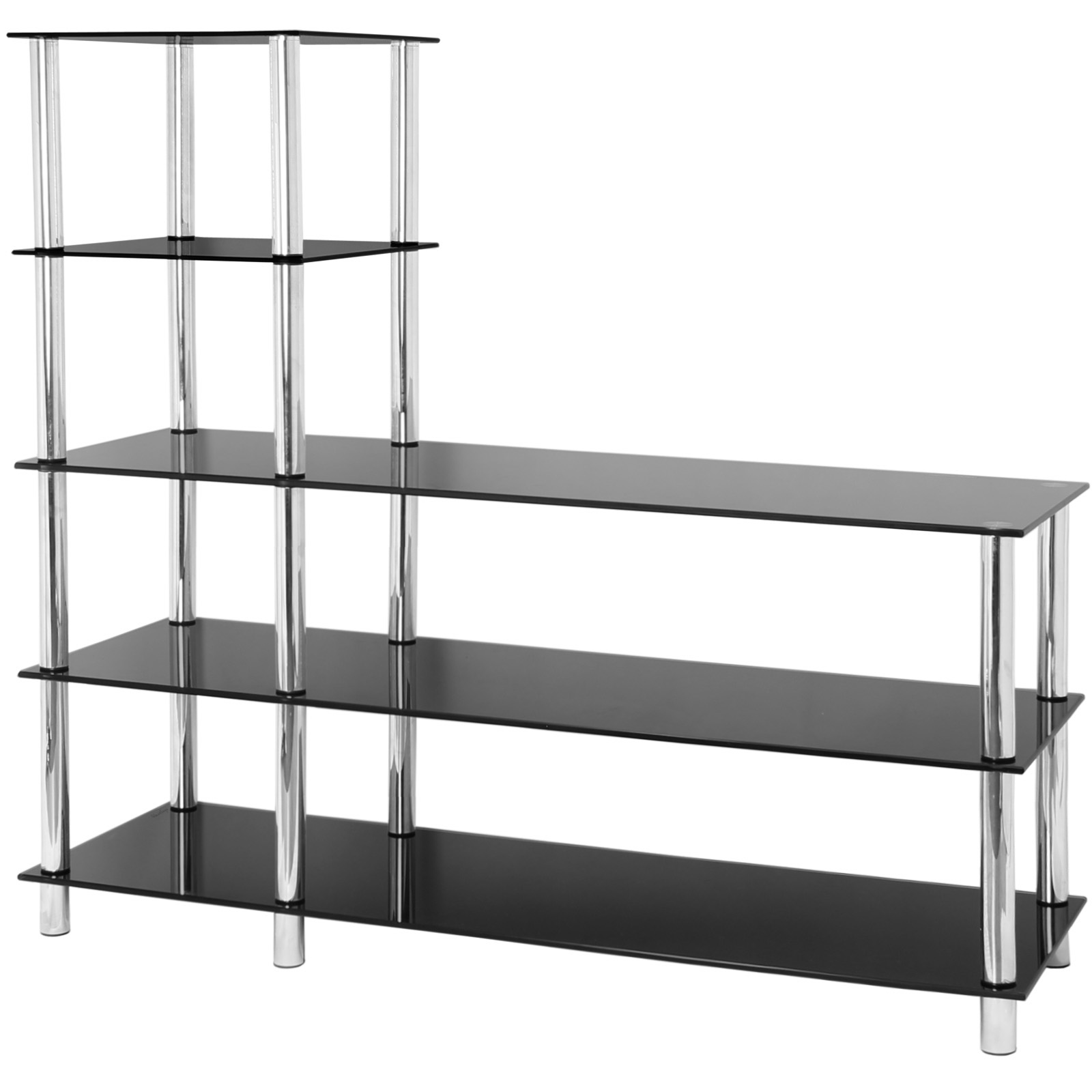 Slim Tv Unit Hartleys 5 Tier Black Glass Shelf Tv Unit Console Table