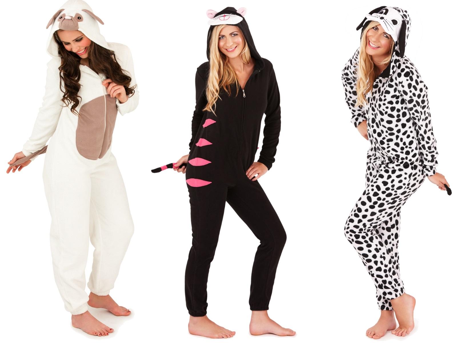 Animal Print Wallpaper Uk Womens Hooded Animal Ears Onesies Jumpsuits Pyjamas Ladies