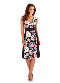 Womens Midi Dress Mid Length Floral Stretch Panel Summer ...