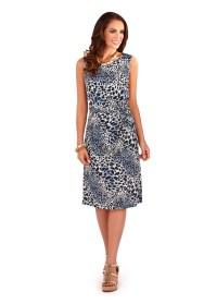 Womens Animal Print Dress Mid Length Sleeveless Summer ...