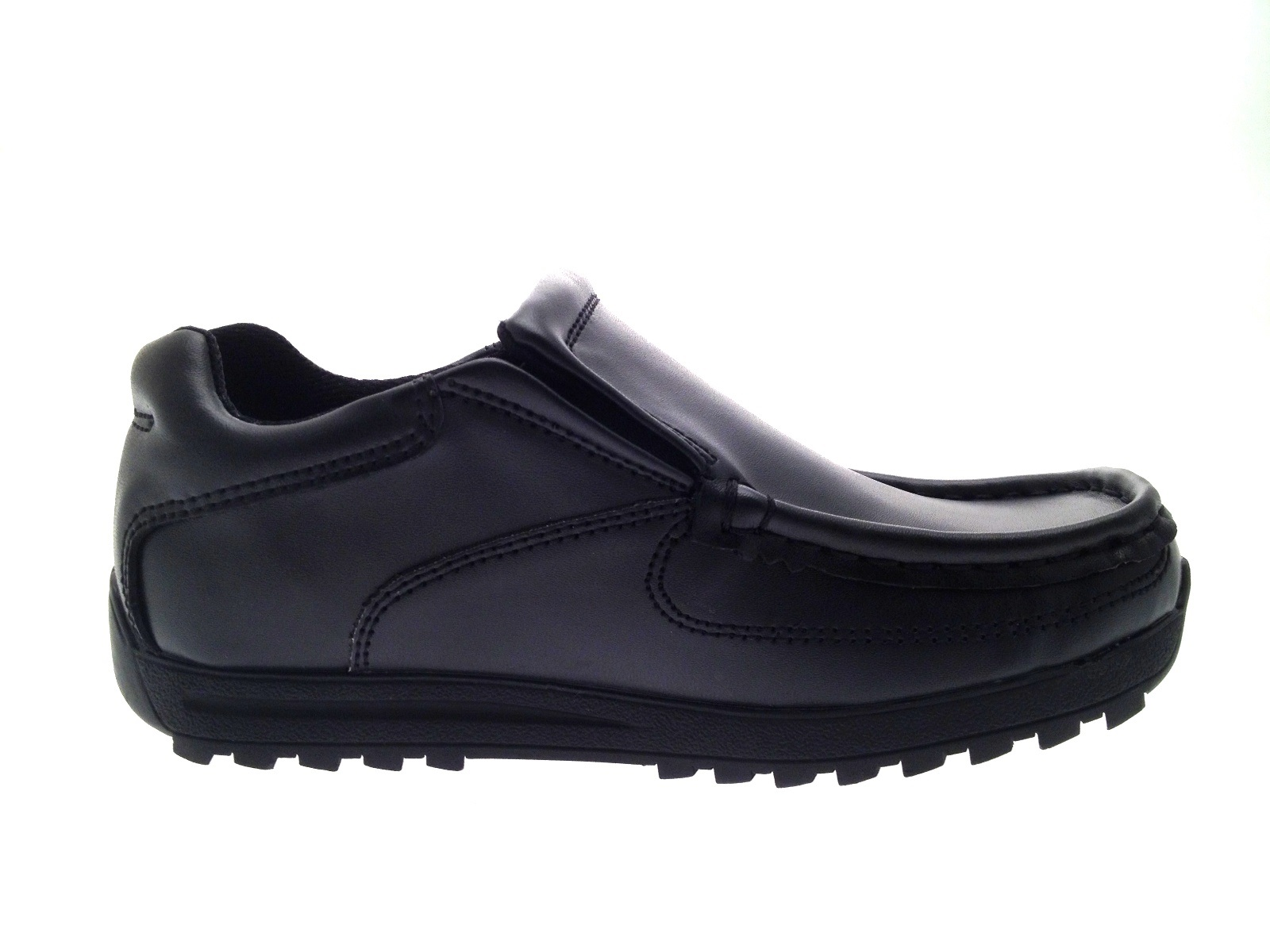 Mens Boys Kids Black Leather School Shoes Work Loafers