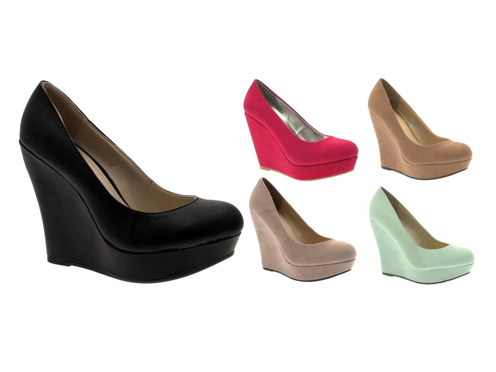 Womens Wedge Platforms High Heels Full Toe Court Shoes