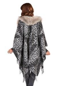 Womens Faux Fur Collar Poncho Wrap Knitted Shawl Throw ...