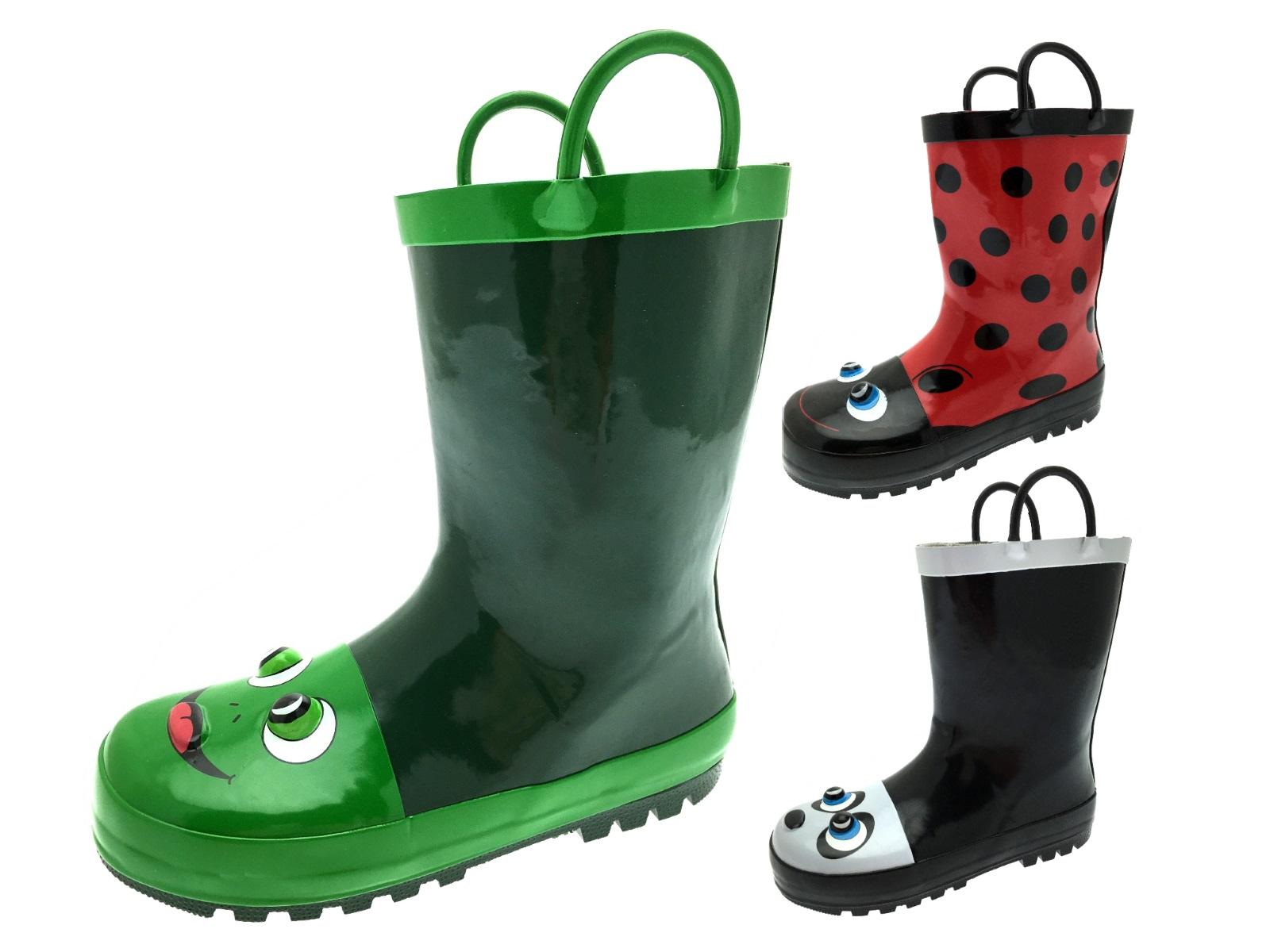 Kids Girls Boys 3d Wellington Boots Snow Rain Wellies Pull