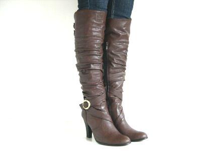 Womens Over The Knee Boots Buckle Zip High Heel Black