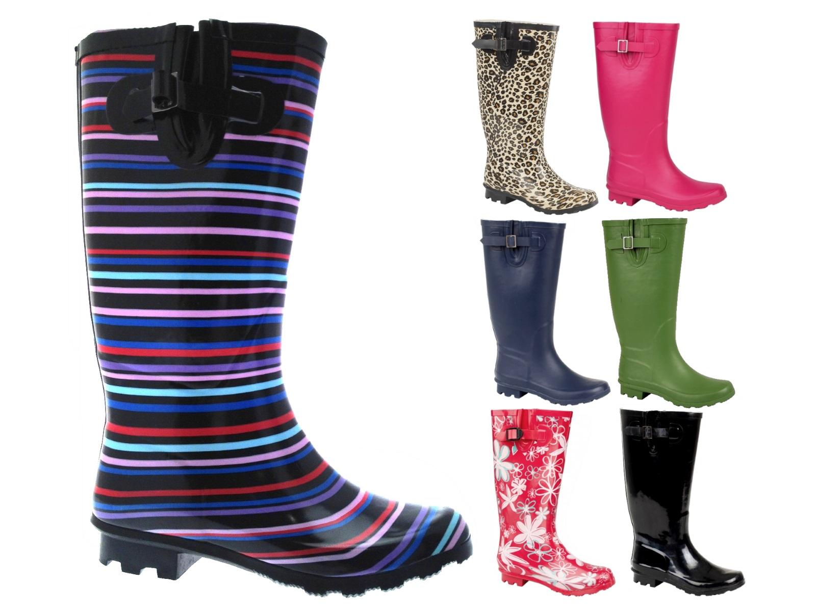 Ladies Wide Calf Knee Length Wellington Rain Snow Boots