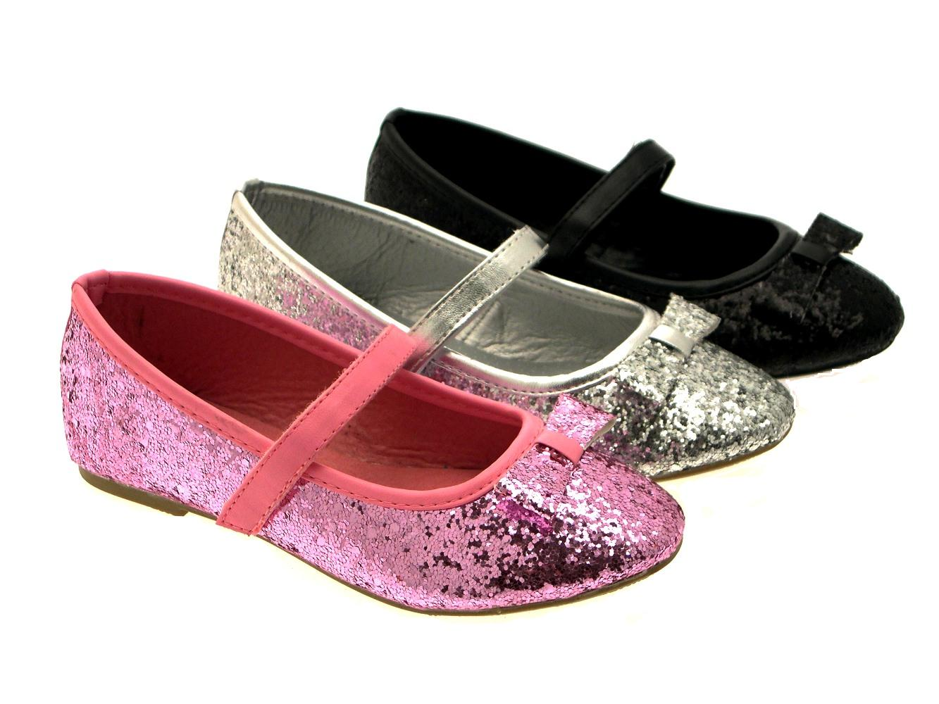 Girls Kids Childrens Glitter Ballet Pumps Xmas Party Mary