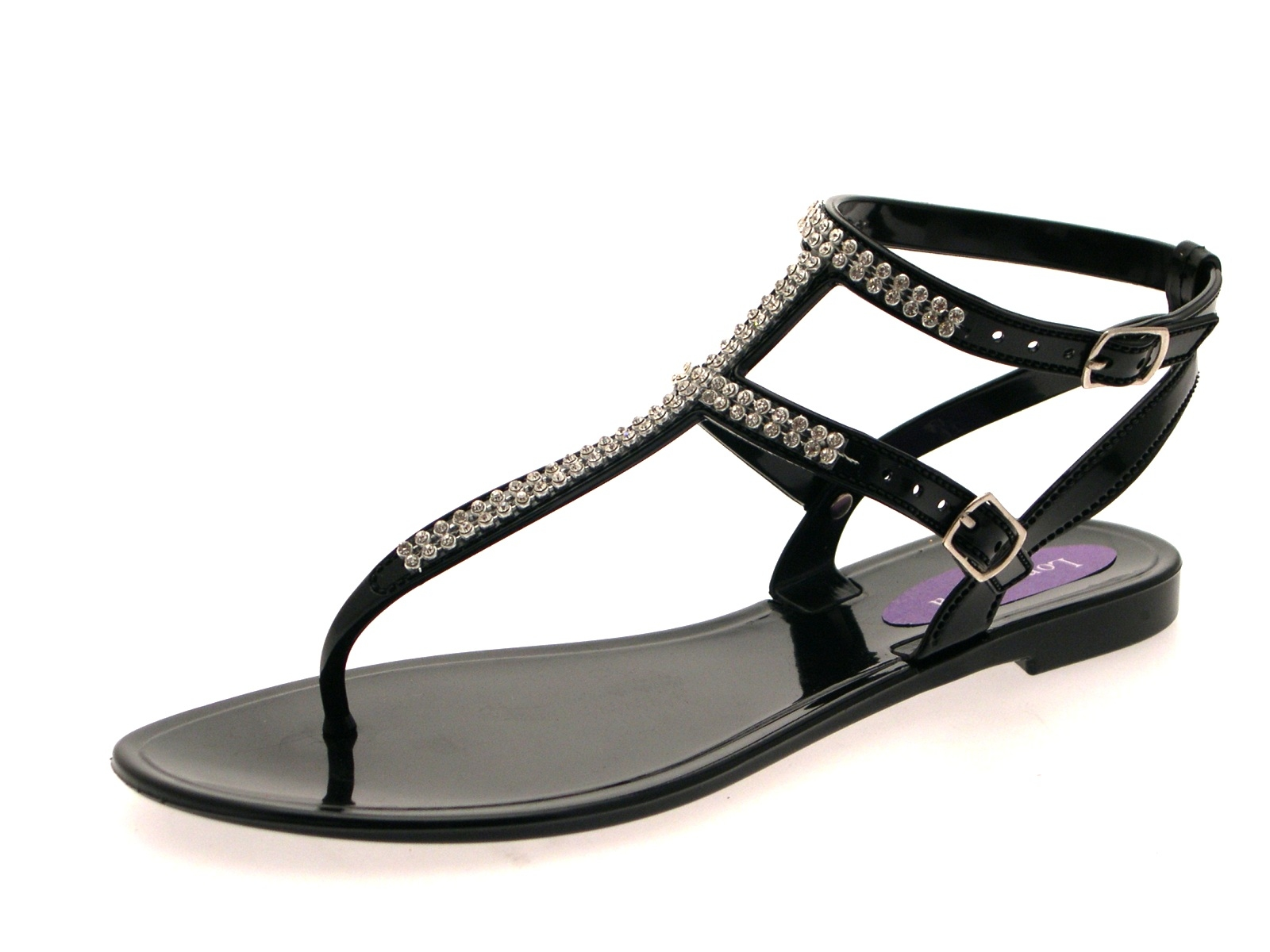 Womens diamante sandals summer flat jelly shoes double strap ladies size uk 3 8