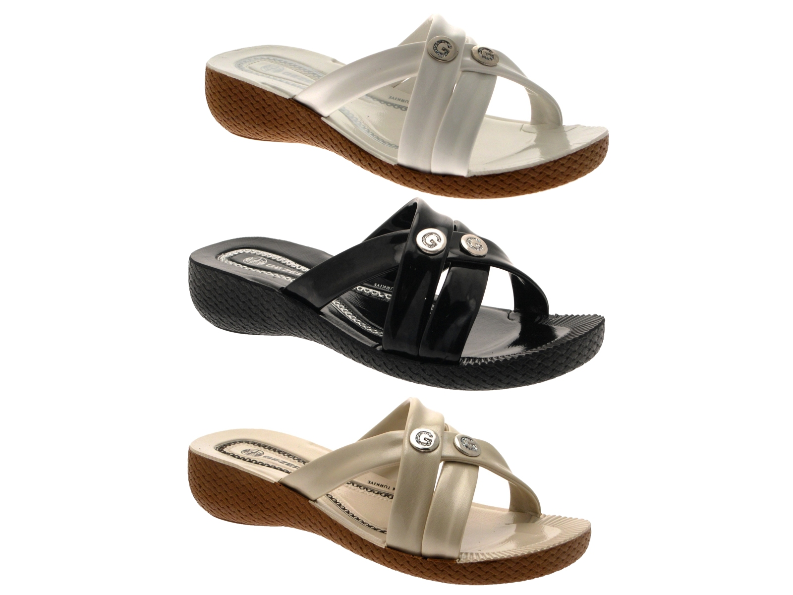 Womens strappy low wedge comfort sandals ladies summer mules shoes size uk 3 8