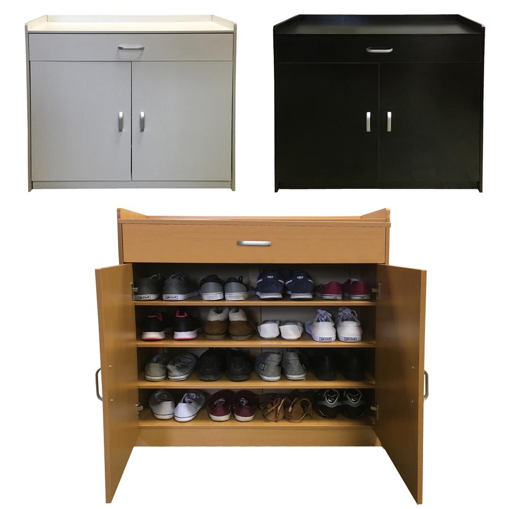 Redstone Shoe Storage Cabinet Rack Black White Beech 4