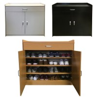 Redstone Shoe Storage Cabinet Rack Black White Beech 4