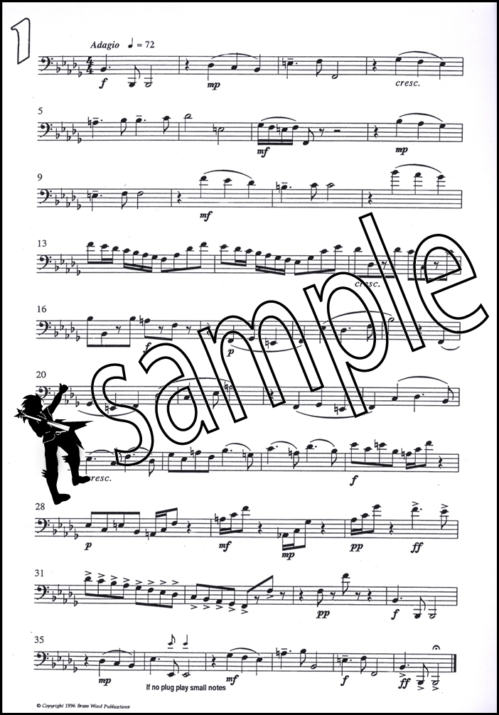 Fantasy Pieces for Tenor Trombone Bass Clef Sheet Music Book Derek