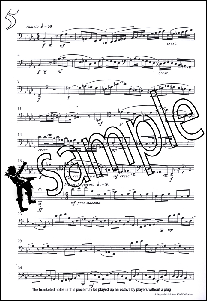 Fantasy Pieces for Tenor Trombone Bass Clef Sheet Music Book Derek - bass cleft sheet music