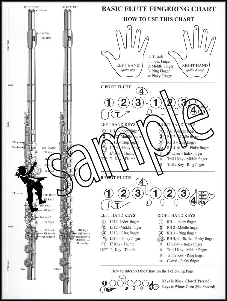 Basic Instrumental Fingering Chart for Flute Santorella Hamcor