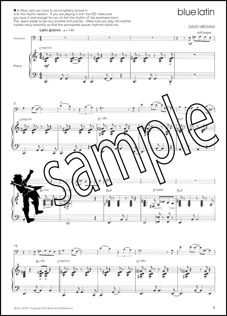 Sonny Bluebone for Trombone Bass Clef Sheet Music Book With CD David - bass cleft sheet music