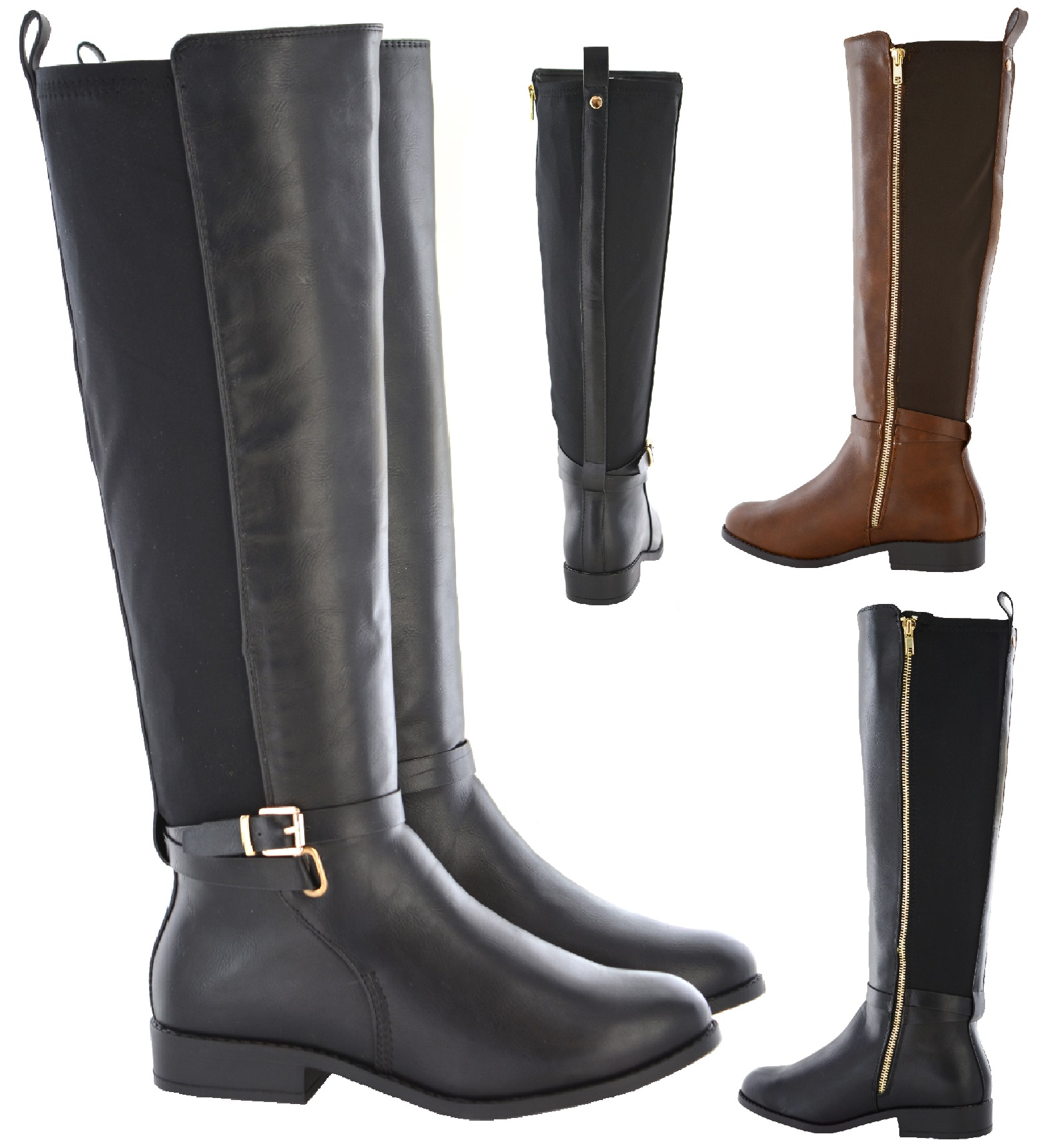 New Womens Ladies Wide Calf Stretch Ex Brand Boot Wide