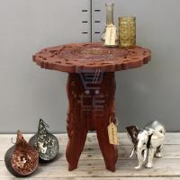 Small Side Table Wooden Round Coffee Lamp End Brown Hand ...