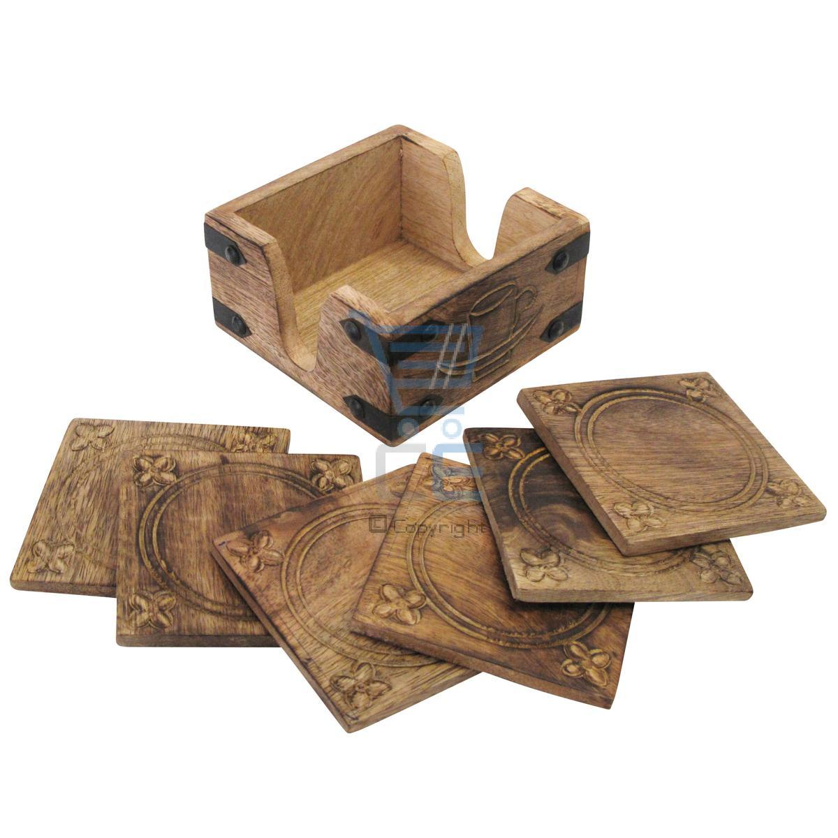 Wood Coaster Holder 6 Hand Carved Coasters And Holder Wooden Burnt Wood Style