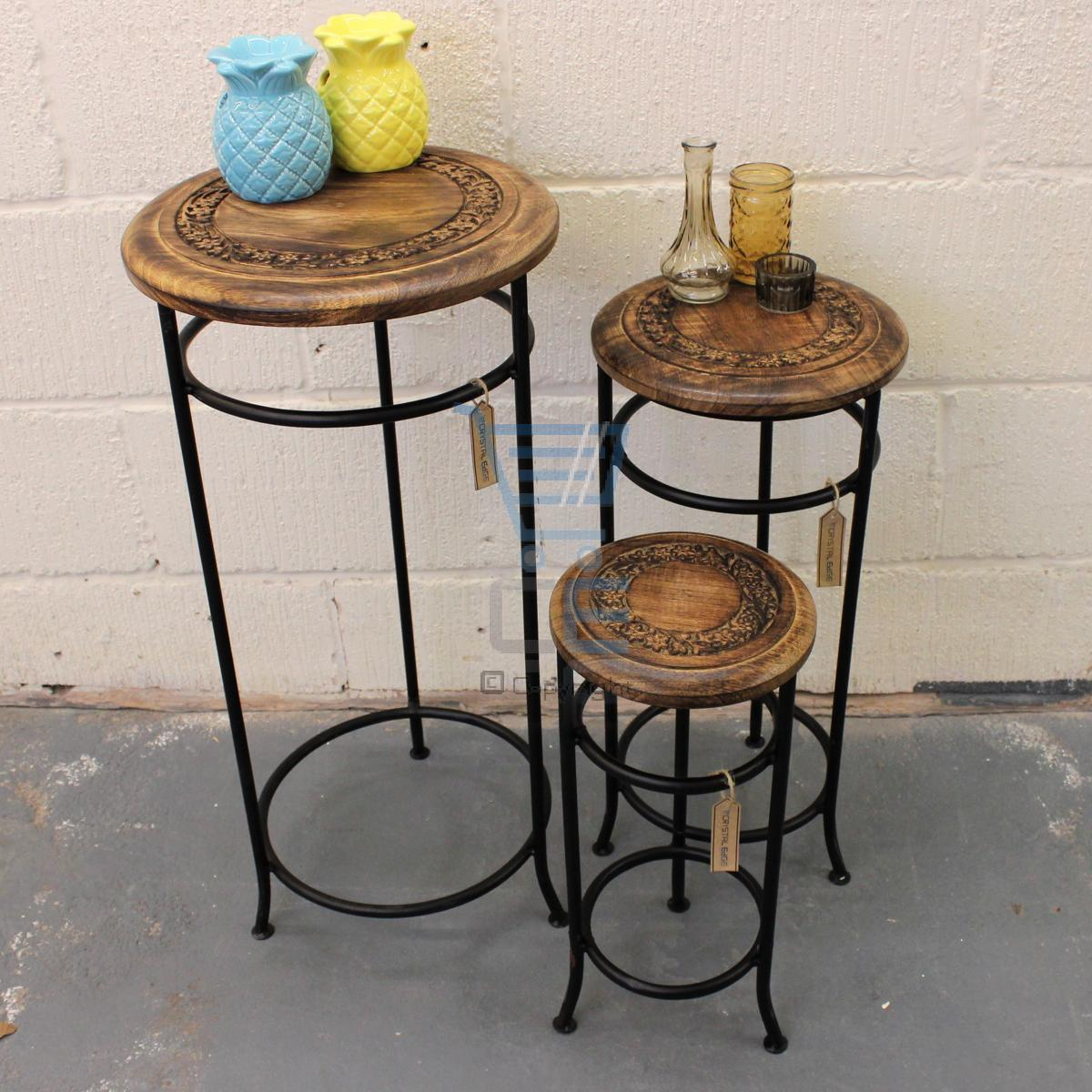 Wood And Metal Plant Stand Set Of 3 Occasional Tables Mango Wood And Iron Plant Stand
