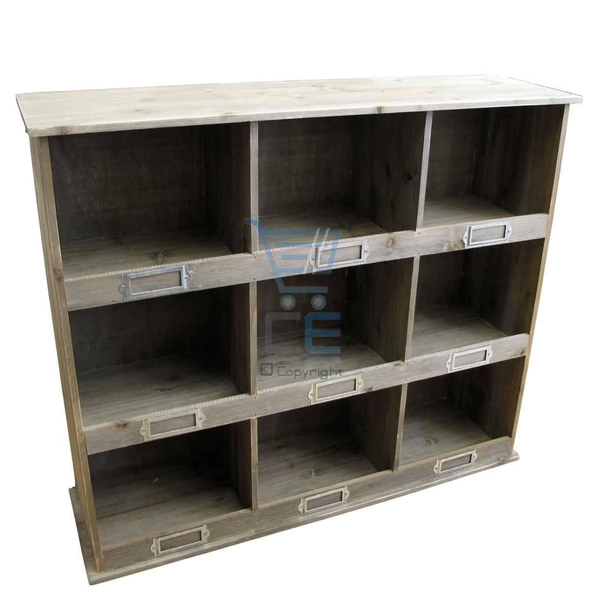 Industrial Wall Shelving Units Vintage 9 Section Wooden Storage Unit Industrial Style