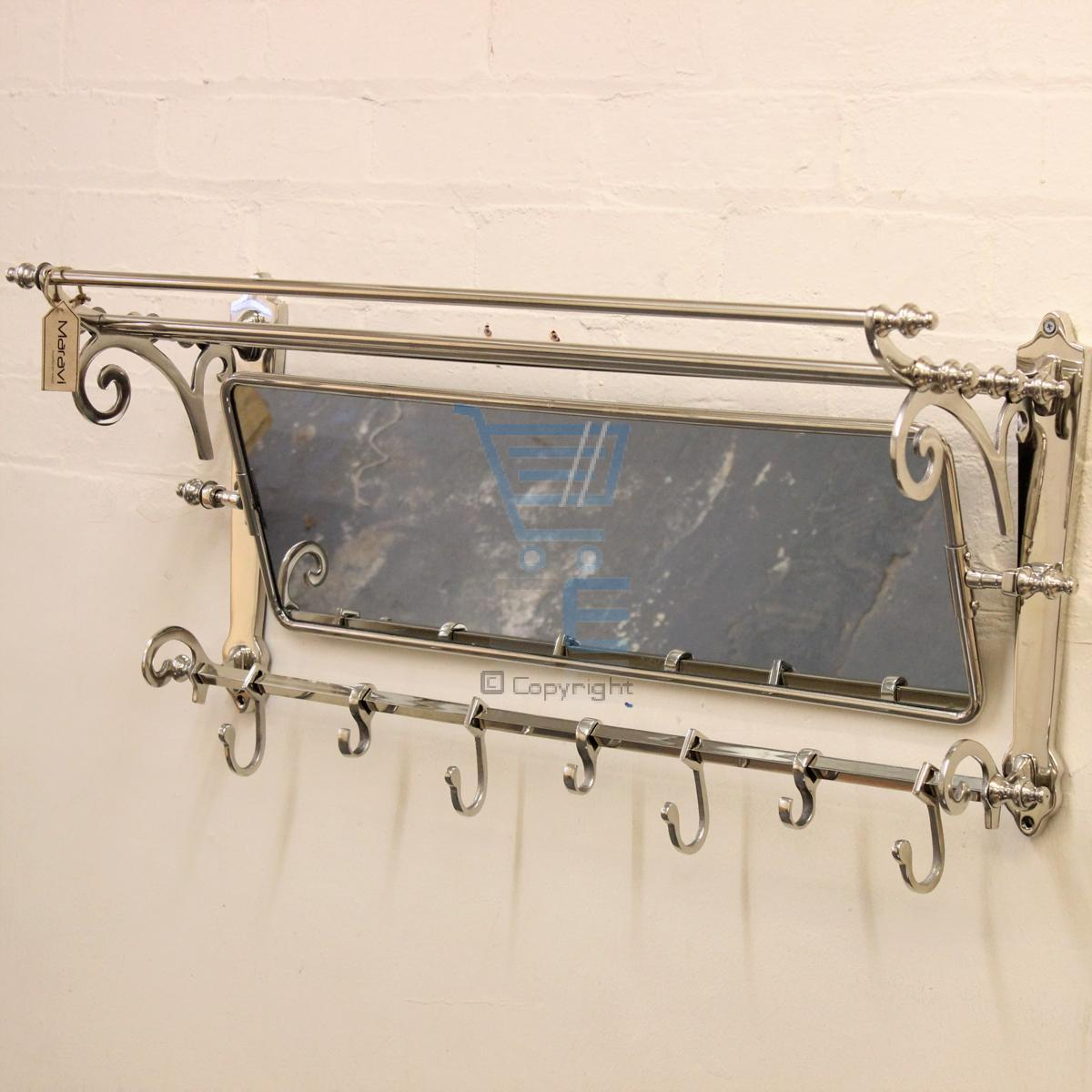 Maravi Train Rack With Mirror Coat Hanger Wall Mounted 7