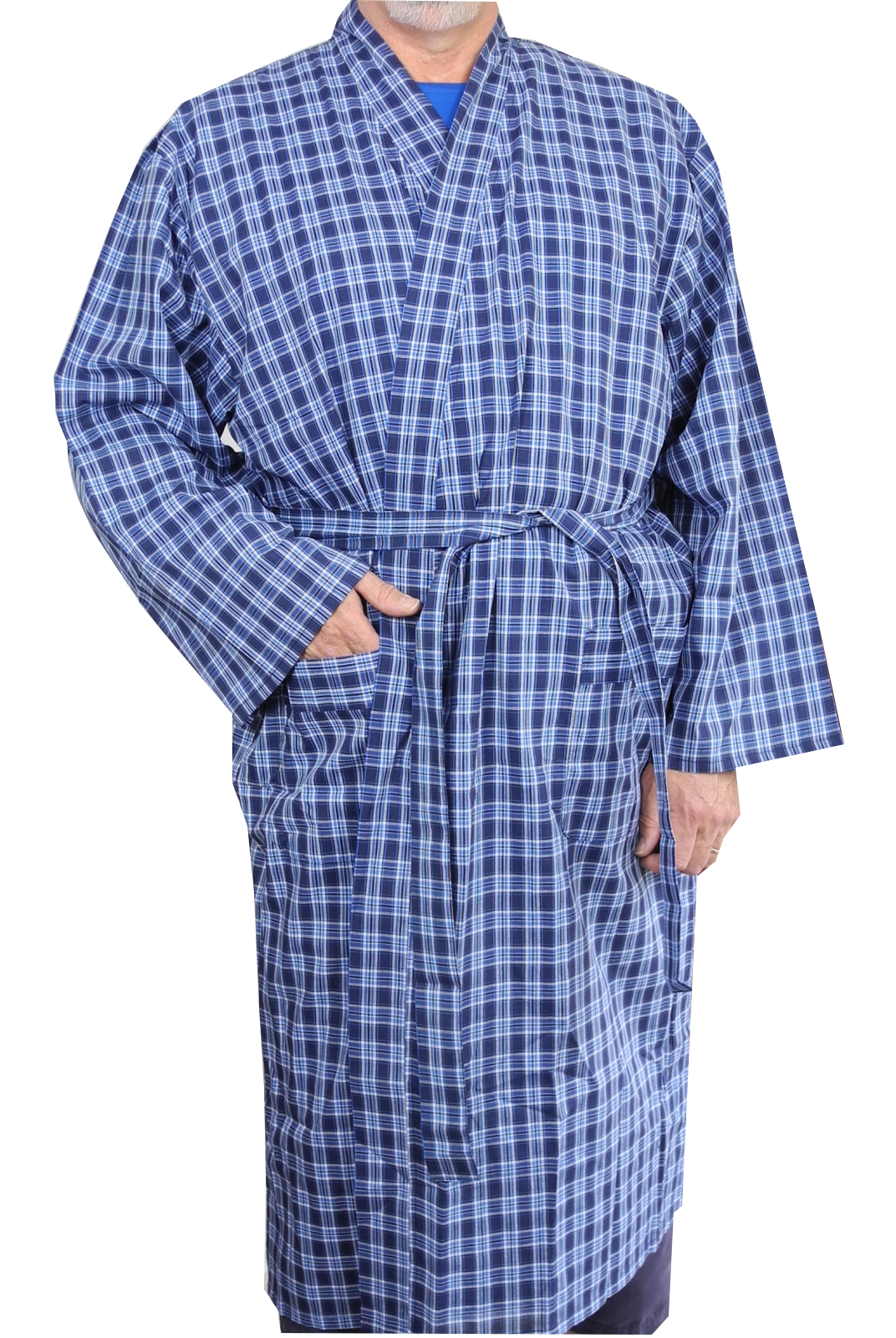 Cotton On Dressing Gown Mens Lightweight Polyester Cotton Dressing Gown Robe Blue