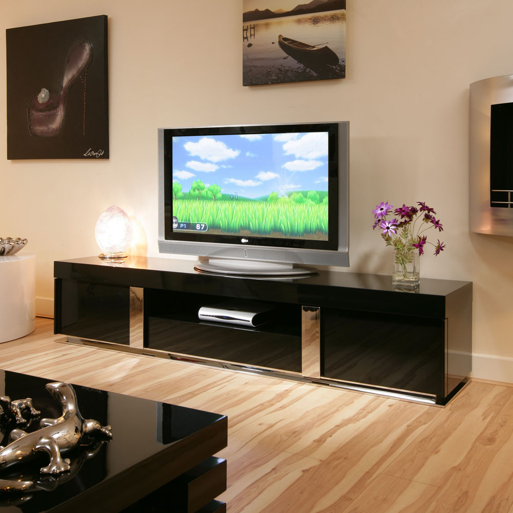 Tv Sideboard Modern Tv Stand / Cabinet / Unit Large 2.2mtr Black Gloss ...