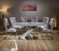 Modern Grey Glass top 1.6m Dining Table set + 6 x silver ...