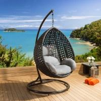 Luxury Outdoor Garden Hanging Chair Black Rattan Grey ...