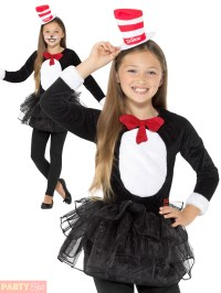 Girls Cat In The Hat Costume Childs Dr Seuss Fancy Dress ...