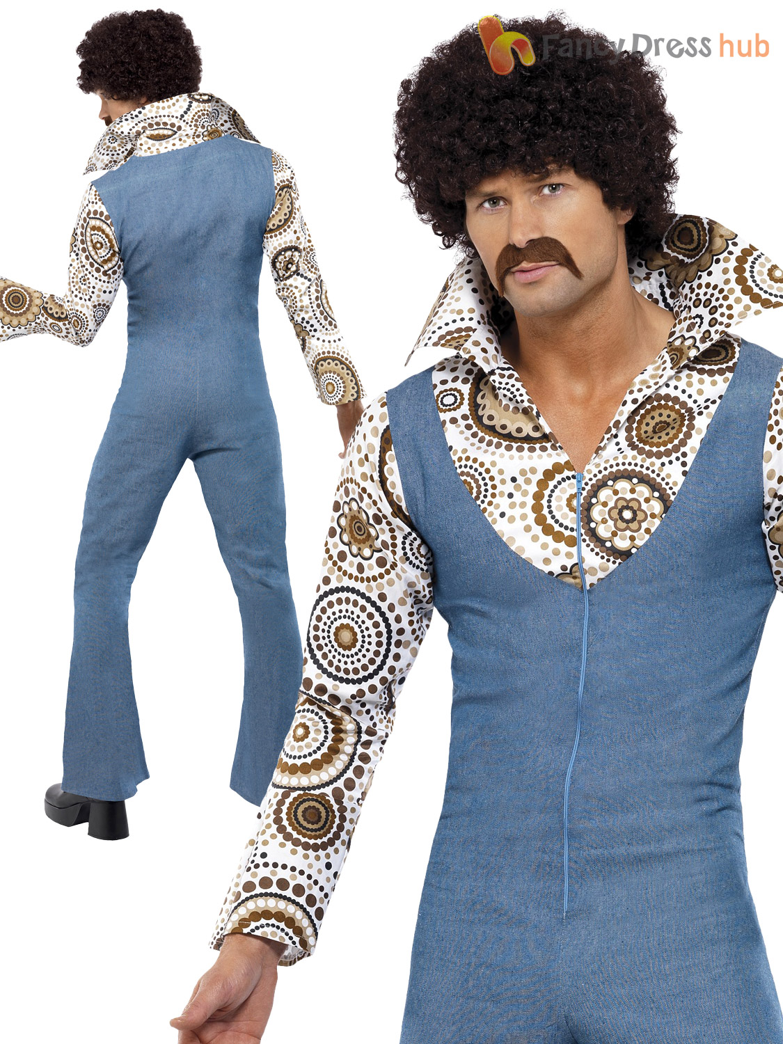 Outfit Disco Mens Groovy Hippy Hippie Disco Costume Adult 60s 70s 1970s