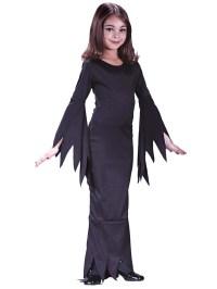Girls Long Black Morticia Costume Vampire Witch Halloween ...